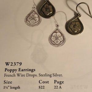 W2379 poppy earrings silpada